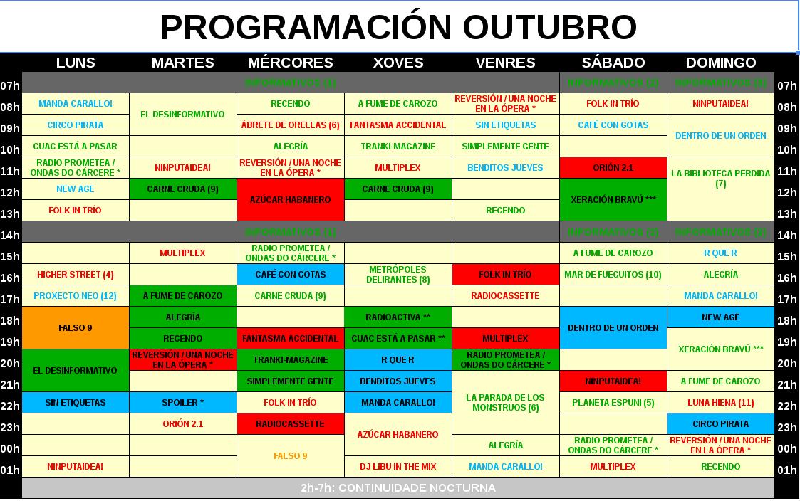 Grella de Programación de Outubro 2015